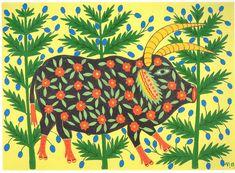 Maria Prymachenko - Ukrainian bull three years old went walking through the woods and garners strength - 1983.