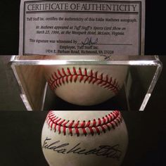Eddie Mathews autographed baseball, Member of the Milwaukee (now Atlanta) ‪#‎Braves‬ and ‪#‎Baseball‬ Hall of Fame includes certificate of authenticity and protective acrylic case. Thurs 11 Aug sale; bids close from 11am ET. http://bid.cannonsauctions.com/cgi-bin/mnlist.cgi?redbird46/1802/3