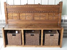 A bench for your entrance made out of an antique head board.
