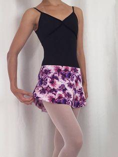 Pansy Print Pull-on SAB style Skirt with elastic waistband