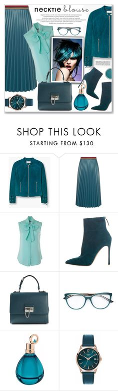 """""""nectie blouses"""" by nanawidia ❤ liked on Polyvore featuring MANGO, Aviù, Moschino, Gianvito Rossi, Dolce&Gabbana, Chopard and Henry London"""