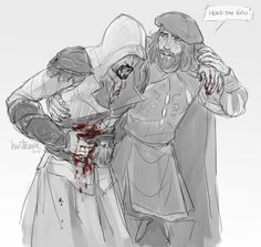 Anonymous said: Leo helping out Ezio after he failed a mission? (Poor Ezio is bleeding out and the guards, including few templars are searching for him)