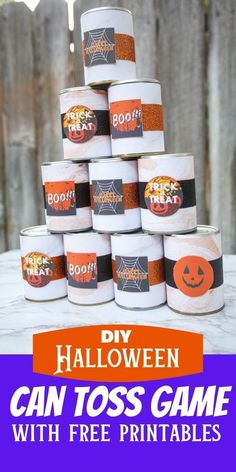 Your whole family will have so much fun with this diy Halloween can toss game with free printables.