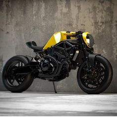"dropmoto: ""Black and yellow, lean and mellow. Ducati custom concept by the talented "" Ducati Cafe Racer, Cafe Racer Bikes, Cafe Racer Motorcycle, Moto Bike, Motorcycle Design, Bike Design, Cafe Racers, Women Motorcycle, Motorcycle Helmets"