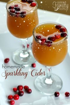 Homemade Sparkling Cider is a must in our family over the holidays! I love this recipe because it's super simple and even better than the real thing! It is SO delicious!
