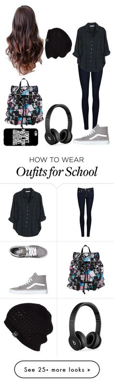 """""""School"""" by magcon1d on Polyvore featuring rag & bone/JEAN, Xirena, Vans, Disney, Beats by Dr. Dre and UGG Australia"""