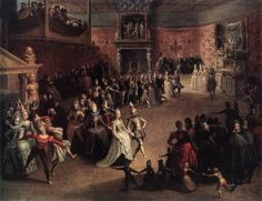 The Ball at the Court (1604). Marten Pepijn (Flemish, 1575-c.1643). Oil on wood. Pushkin Museum, Moscow.  This small-scale composition contain little figures with stereotyped faces and soft contours. It depicts an elegant dance party. The influence of early works by Hieronymus Francken the Elder and Frans Francken the Younger, who were both known for their depictions of similar scenes, is apparent.