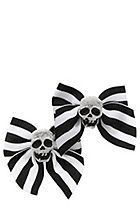 Black And White Stripe Skull Ribbon Bow Hair Clips (i has these<3 <3)