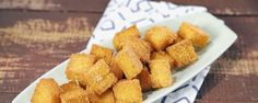 Turn polenta into croutons with this easy recipe!  You can also eat these as a good gluten free snack.