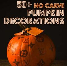 50+ No-carve Pumpkin Decorations #halloween #decorations #Fall- love the melted drippy crayon one <3