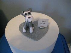Snappy Schnauzer clay Dog Wedding Cake Topper by PawsnClaws