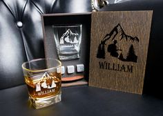 Coaster and glass and 3 whiskey stones in personalized wood box. Groomsmen Gift Box, Groomsman Gifts, Whiskey Gift Set, Leather Coasters, Beer Bottle Opener, Personalized Coasters, Best Gifts For Men, Glass Boxes, Root Beer