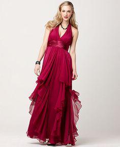JS Collections Dress, Empire Waist Ruffled Tiered Halter Evening Gown