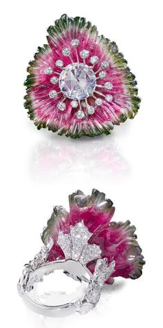 Carved Watermelon Tourmaline and Diamond Ring by Leviev