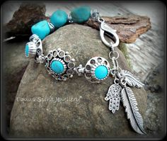Turquoise trio charm bracelet by EquusSpiritJewellery on Etsy