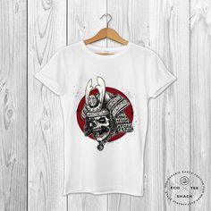Samurai skull t-shirt Tattoo print Men's graphic tee
