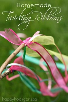 Homemade Twirling Ribbon Sticks in 5 minutes - Happy Hooligans ***Add jingle bells to the short end of the ribbon for jingle noises.
