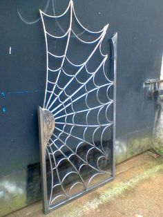 Side Gate Spider Web Design Hand Forged, Home, Garden & Construction Services Service Available in Santry, Dublin Metal Garden Gates, Metal Gates, Metal Garden Art, Steel Gate Design, Iron Gate Design, Metal Art Projects, Welding Projects, Welding Ideas, Blacksmith Projects