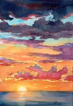 """""""Sunset ii"""", watercolour painting by Sharon Lynn Williams Watercolor Techniques, Art Techniques, Watercolor Paintings For Beginners, Watercolor Sunset, Simple Watercolor, Watercolor Ideas, Tattoo Watercolor, Watercolor Animals, Watercolor Background"""