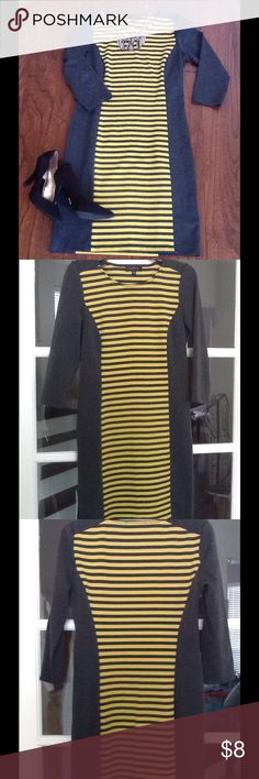 Fabulous gray and yellow striped dress👗🎀💕 Fabulous dress great for office or casual...gray and yellow striped with grey panels at the side💕 Spense Dresses Midi