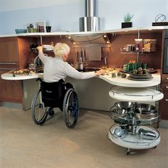 This is an excellent example of Universal Design because all of the surfaces are at a good level for a person who uses a wheelchair, as in the picture. This concept also allows for storage and cooking in a safe way. Aging In Place, Kitchen Installation, Canvas Designs, Senior Living, Disability, Kitchen Design, House Design, Interior Design, Handicap Equipment