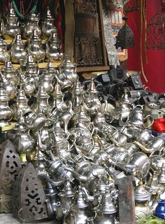 Coffeepots at a street market in Marrakech, Morocco.