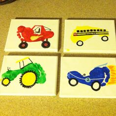 Monster truck, school bus, tractor, and race car footprint art for my toddler's transportation themed room