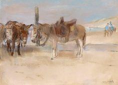 Isaac Israels (Dutch, 1865-1934)  Donkeys on the beach