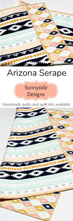 Arizona Handmade Baby Quilt, Toddler Bed Quilt, Aztec Tribal Nursery Bedding, Crib Blanket, Whole cloth Quilt Kit, Baby Quilt Kit, Toddler Quilt Kit, Simple Panel Easy Beginner Stitch in the Ditch Quilting Sewing Project by Sunnyside Designs
