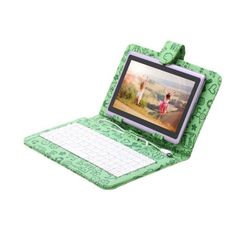 """REDUCED PRICE (Save $19.40) - iRULU Blue 7""""Inch 16GB Google Android Tablet PC, Quad Core,1024*600 Resolution,Dual Camera with Green Cartoon Keyboard Case"""