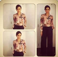 Karisma Kapoor attended a taping for Anupama Chopra's show on Star World in a Dolce shirt, Armani pants and jewellery by Aquamarine.
