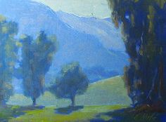 MARCH EVENING, King Gillette by Elena Roche Oil ~ 6 x 8