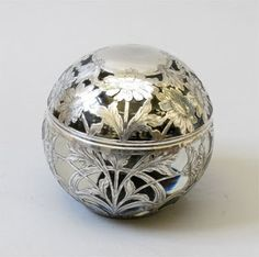 Glass Inkwell With Sterling Silver Overlay, c 1900. Alfies Antique Market