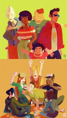 The Cool Kids | by chuwenjie.deviantart.com on @DeviantArt | Steven Universe | Gravity Falls | Cartoon Network