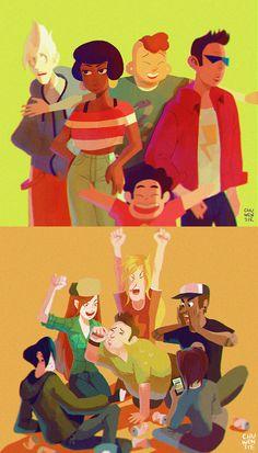 The Cool Kids | by chuwenjie.deviantart.com on @DeviantArt | Steven Universe | Gravity Falls | Cartoon Network