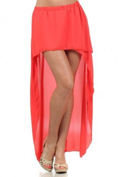 Description: Hot Hot Hot! Coral night out skirt is a fun piece to wear with a form fitting or flowing neutral top and long beaded necklace and some high heels. The color is vibrant and fabulous for Summer! The top short section is sewn in from front to back for coverage so a slip is not needed.