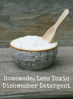 DIY homemade, less-toxic dishwasher detergent. Made out of common kitchen ingredients. Repin to save!