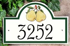 Pears Address Signs House Plaques - Ceramic Address Plaques