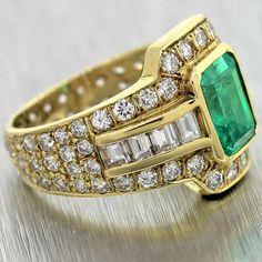 60% Off Vintage Estate 1.33ct Natural Emerald 18K Gold Diamond Cocktail Ring EGL #Unbranded #Cocktail