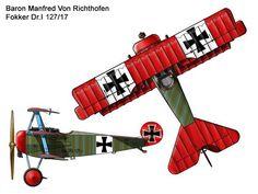 Fokker Dr.I Unit: Jagdgeschwader 1 Serial: Dr.127/17 Pilot - Ritt Manfred Von Richthofen.