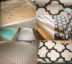 schlafzimmer gestalten modern mit einem diy kopfteil gepolstert, Hause deko