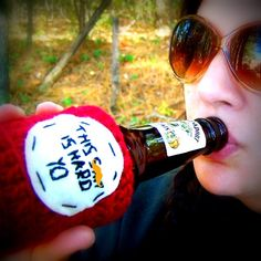 Bottle Cozy Can Koozie funny beer water Sh-t is Hard Yo crochet red handmade. KnotworkShop via Etsy.