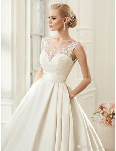 Cap Sleeve Sheer neck Sexy Wedding Dresses Backless Bridal Gown A-line Satin WEdding Gown With pockets