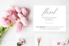 BUNDLE - 4 x Table top floral photos by White Hart Design Co. on @creativemarket