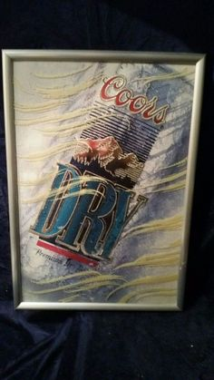 """1991 NEW NOS Old Stock Coors Dry Premium Beer Mirror  14""""x20"""""""