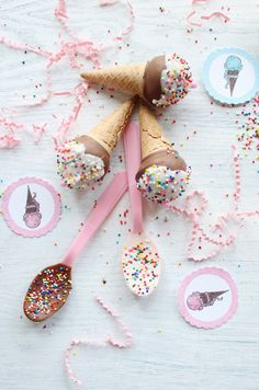 Ice cream cone cake pops.
