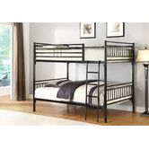 """Full Over Full Bunk Bed by Hazelwood Home - $328.43 in black or gray - metal iron - Overall: 67"""" H x 79"""" W x 57"""" D Overall Product Weight: 100lbs - Thickness:7"""" (mattress for top bunk) Bottom of Lower Bunk to Floor: 12"""" Bottom of Top Bunk or Loft to Floor: 56"""" Side Rail Length: 79"""" - ladder is right facing (12/12/15 Grey sold out; Black is now $410)"""