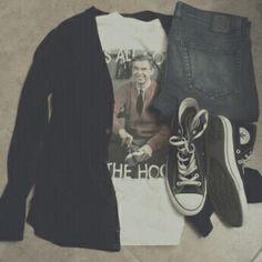 o o t d • t h u r s d a y • cotton on black cardigan • mr rogers graphic  shirt • social collision jeans • black high top converse • c074734d1
