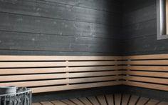 Struktuuri 176 hemiäisharmaa tuo ihanaa tunnelmaa saunaan. Vaaleat lauteet kruunaa tämän saunan tunnelman.