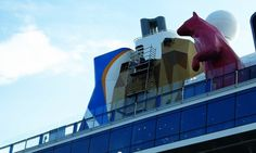 Painting the rock wall on the Quantum of the Seas.